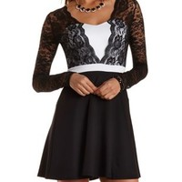 Lace-Layered Long Sleeve Skater Dress