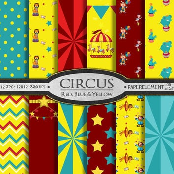 Circus Digital Paper: Carnival Digital Paper with Printable Circus Background - Circus Birthday Scrapbook Paper with Balloons and Animals
