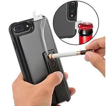 iPhone 7 Plus Case, ZVE Multifunctional Lighter Case Durable Shockproof Protective Cover with Cigarette Lighter, Bottle Opener for Apple iPhone 7 Plus (2016) 5.5 Inch - Black