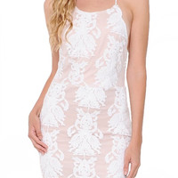 A Beautiful Mesh Embroidered Dress - White