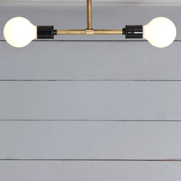 Brass Semi Flush Mount - Double Ceiling Light