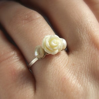 Rose pearl silver engagement ring, romantic women jewelry, handmade sterling silver adjustable ring with resin rose