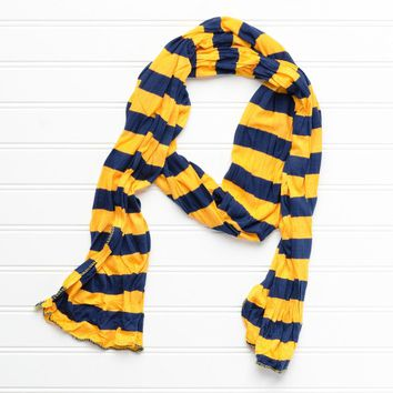Jersey Striped Scarf – Gold/Navy Blue