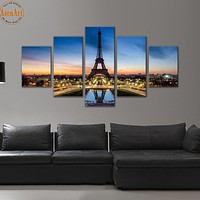 5 Pieces Picture Painting Paris City Landscape Pictures Eiffel Tower Decoration Wall Art Canvas Print Framed