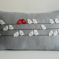 Sukan / Birds Linen Pillow Cover  12x20 inch  Gray by sukanart