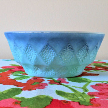 Blue Fire King Kimberly Bowl, Diamond Ombre Fire King Cereal Bowl, 60s Blue Soup Bowl