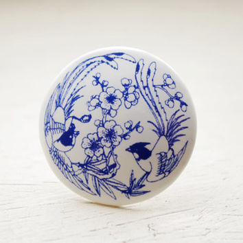 Ceramic porcelain jewellery-Chinese phoenix pattern blue and white porcelain ring,graduation gift, birthday gift,unique Christmas gift,china