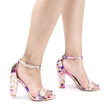Frenzy41 Blush beige by Bella Luna, Metallic Floral Ankle Wrap Sandal On High Block Heel