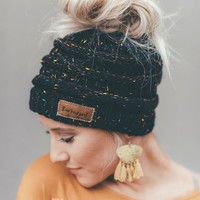 Messy Bun Knitted Beanie - Confetti Black