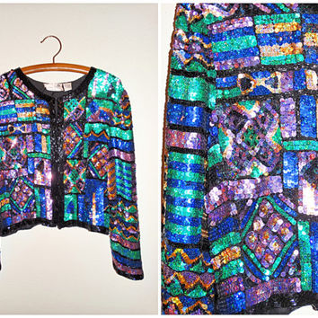 80's Blue Purple Sequin Jacket // Laurence Kazar Sequined Jacket // Color Blocked Blouse Beaded Jacket Top Large XL