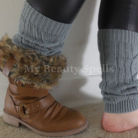 Short Womens Leg Warmers, boot toppers, Knit Legwarmer, boot socks, boot warmers Color Gray