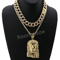 Hip Hop Iced Out Quavo Jesus Face Miami Cuban Choker Chain Tennis Necklace L47