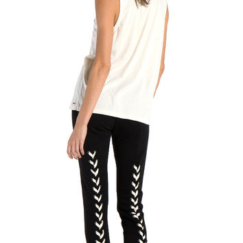 n:Philanthropy Reiko Lace Up Back Skinny Sweats Black