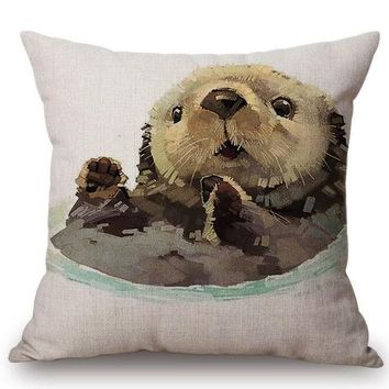 Cute Sea Otter Pillow Cover