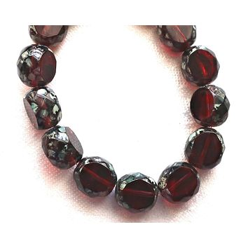 Five 12mm round, faceted. table cut Czech glass beads, garnet red & amethyst mix picasso window beads, chunky statement , focal beads 44101