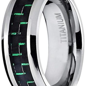 CERTIFIED 8MM Men's Titanium Wedding Band Ring Black and Green Carbon Fiber Inlay