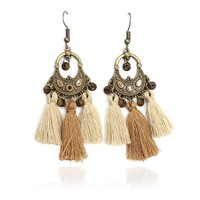 Bohemia Long Tassel Wooden Beads Hanging Fringing Dangle Drop Earrings for women Statement Ethnic Earring bijouterie Jewelry