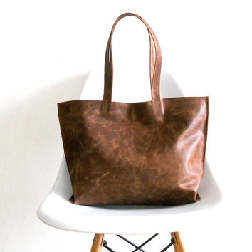 Leather tote bag - Shoulder Bag -Every day leather bag - Women bag - brown leather