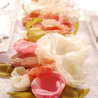 Rustic Wedding Fabric Flower Centerpiece Long Floral Table Runner