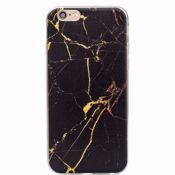Black Gold Marble Soft Case for iPhone 6 6s Plus 5 5S 5C 4 4S