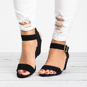 Ankle Wrap Black Wedge Sandals