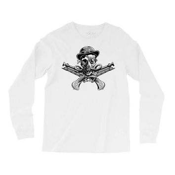 skull hat crossed pistols pirate Long Sleeve Shirts