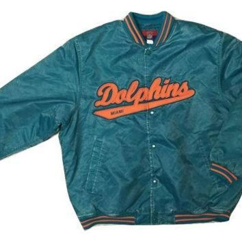 ONETOW RARE Authentic Vintage Reebok Miami Dolphin NFL jacket Jersey Coat Men Women Clothing