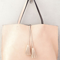 Compare Notes Taupe and Pink Reversible Tote