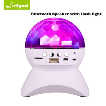 Disco DJ Party Bluetooth Speaker Built-In Light Show Stage Effect Lighting RGB Color Changing LED Crystal Ball Support TF AUX FM