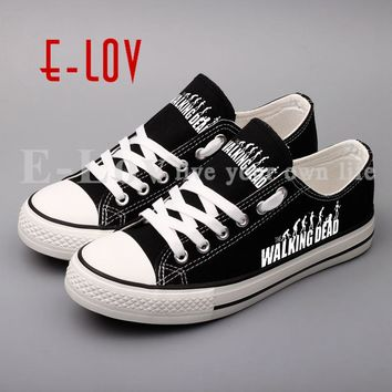 Personality Printed Canvas Shoes Unique Zombie Graffiti Hip Hop Woman Girls Shoes For Valentine Gifts