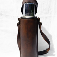 Vintage Traveling Thermos with Leather Carrying Case; Industrial Mid-Century Masculine Decor