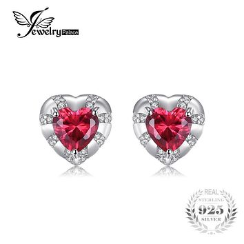 JewelryPalace Love Heart 2.28ct Created Ruby Stud Earrings Genuine 925 Sterling Silver Party Earrings For Women Fine Jewelry