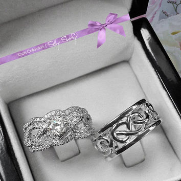His & Hers Infinity Knot Wedding Rings Set. Includes Engagement Ring With Wedding Matching Band and Men Wedding Ring
