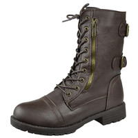 Womens Mid Calf Boots Motorcycle Hiking Combat Casual Shoes Brown SZ