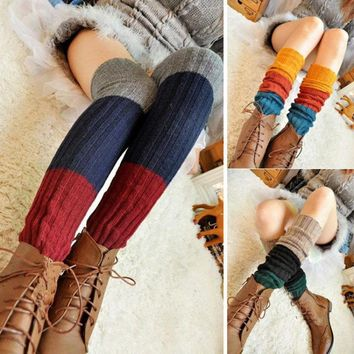 Women Winter Over Knee Long Knit Crochet Leg Warmers 3colors Stiching Cute Glitter Socks Womens Gaiters Beenwarmers BAC236