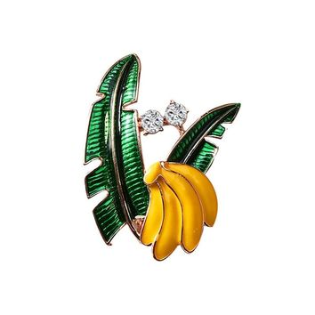Colorful Enamel Banana Brooches Pins for Women Korea Cute Fruits Lapel Hijab Pins Fashion Accessories Factory Direct Wholesale