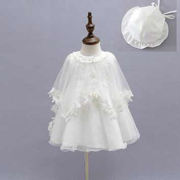 2015 Newborn Baby Christening Gown Infant Girl's White Princess Lace Baptism Dress Toddler Baby Girl Chiffon Dresses 3pcs/set
