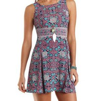 Floral Print Skater Dress by Charlotte Russe - Multi