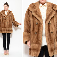50s 60s Autumn Haze Blonde Mink Fur Coat / Double Breasted Cape Stroller Jacket M / L