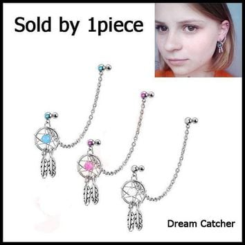 ac ICIKO2Q 1Pcs 16g Mix Color Dream Catcher Ear Tragus Cartilage Earring With Double CZ Stud Dangle Chain Ear Piercing Body Jewelry