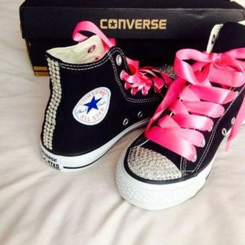 CREYUG7 High Top Rhinestone Converse with Ribbon Shoelaces 0f05d2dd63