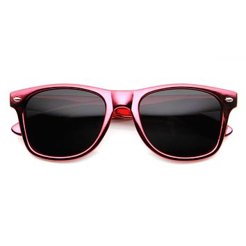 Shiny Foil Reflective Coating Retro Horned Rim Sunglasses 8724