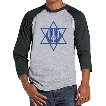 7 at 9 Apparel Men's Menorah Hanukkah Raglan Tee
