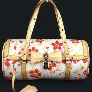 Louis Vuitton LV Murakami Hand Bag Monogram Cherry Blossom Floral Women Rare !