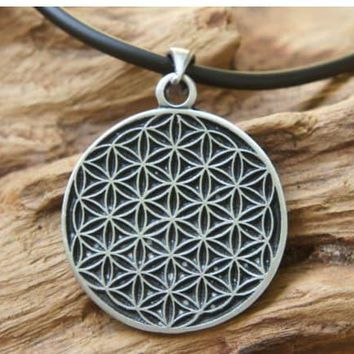 "FLOWER OF LIFE Necklace + 18"" PVC rubber necklace"