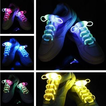 2017 New Arrival Light Up LED Shoelaces Fashion Flash Disco Party Glowing Night Sports Shoe Laces Shoe Strings Multicolors