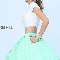 Short Two Piece Polka Dot Dress by Sherri Hill