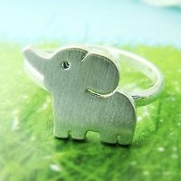 Simple Elephant Ring Animal Jewelry Adjustable Free Size Gold Silver gift idea