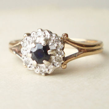 Vintage Sapphire Engagement Ring, Diamond Ring, 9k Gold Ring Size Approx. US 7.5 / 7.75