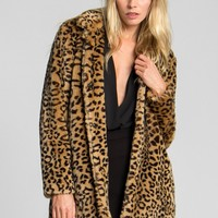 Katy Leopard Fur Coat